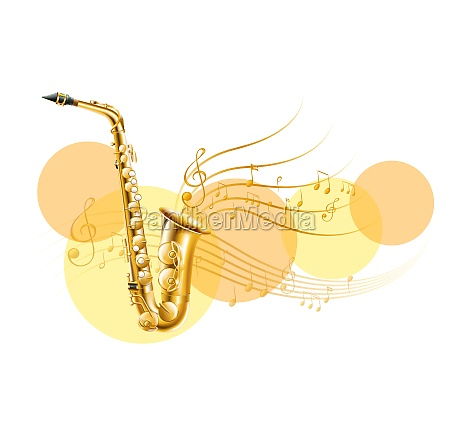 golden saxophone with music notes