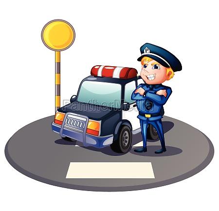 a cop beside a police car