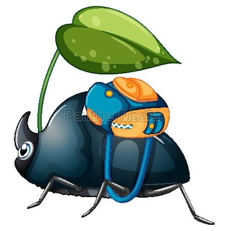 beetle student holding leave