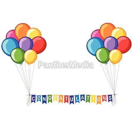 background design with balloons and word