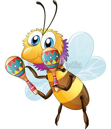 cute bee cartoon character holding maracas