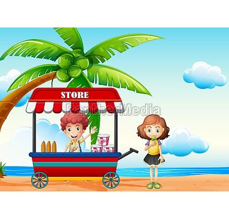 beach scene with boy and girl
