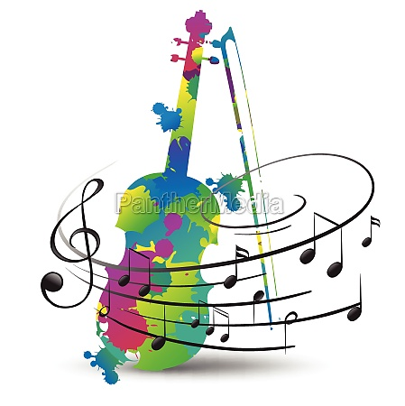 colorful violin and music notes on
