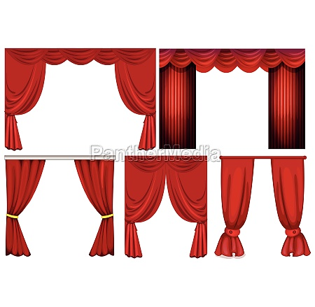 different designs of red curtains