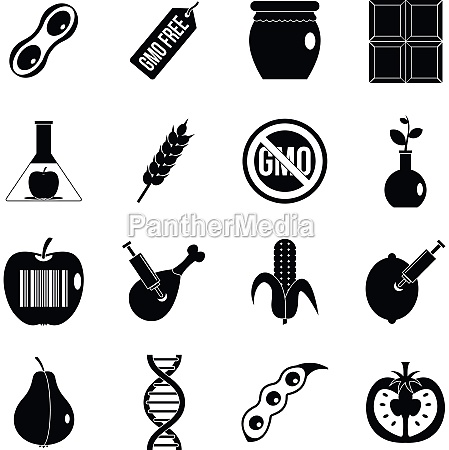 gmo icons set food simple style