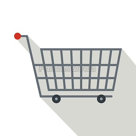 large metal shopping trolley icon flat