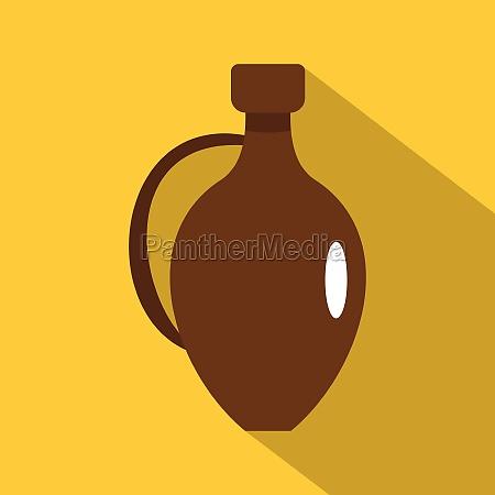 clay wine jug icon flat style