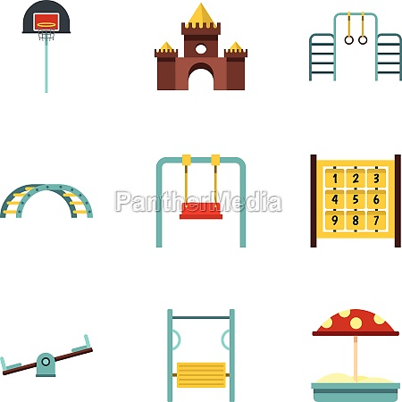 kindergarten playground icons set flat style
