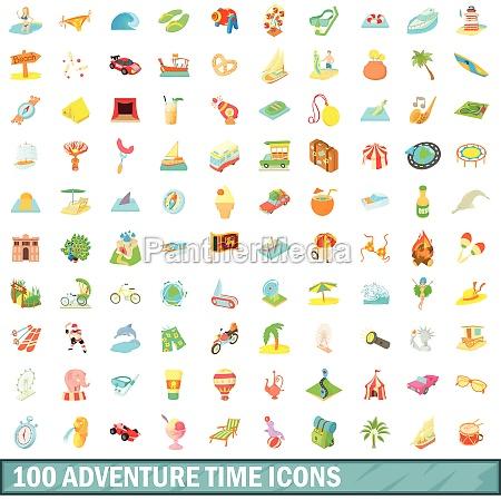 100 adventure time icons set cartoon
