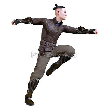 3d rendering asian man on white
