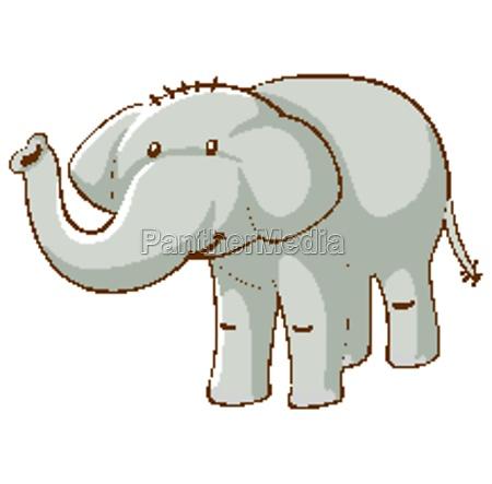 gray elephant on white background