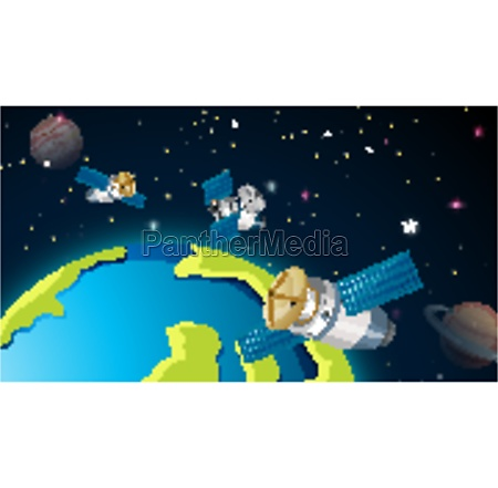 satellites around earth scene