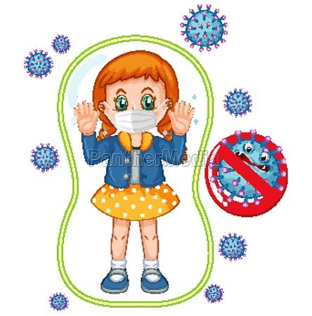 coronavirus poster design with girl wearing