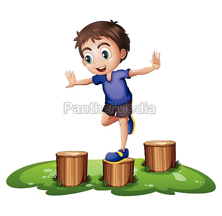 a young boy above the stump