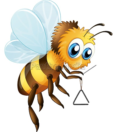 bee with triangle musical instrument