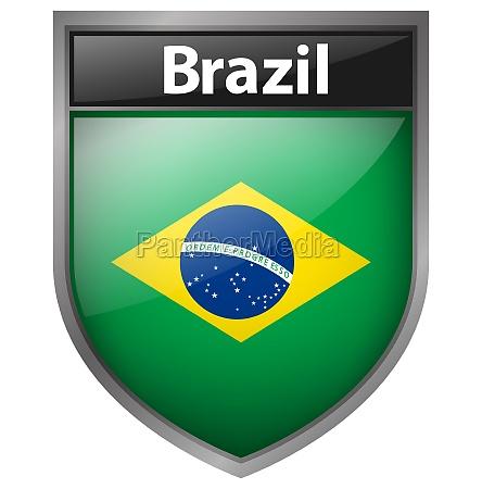 brazil flag on badge design