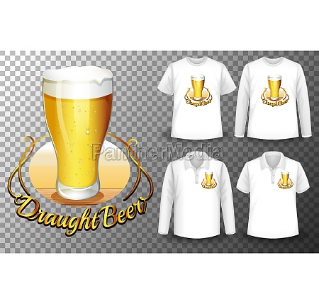 beer glass logo with set of