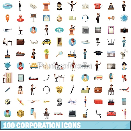 100 corporation icons set cartoon style