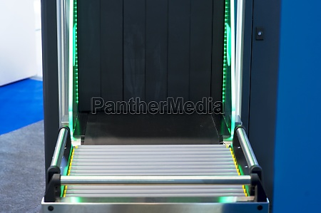airport security check with metal detector