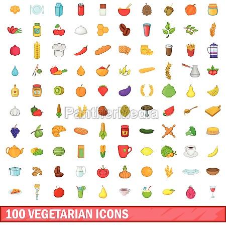 100 vegetarian icons set cartoon style