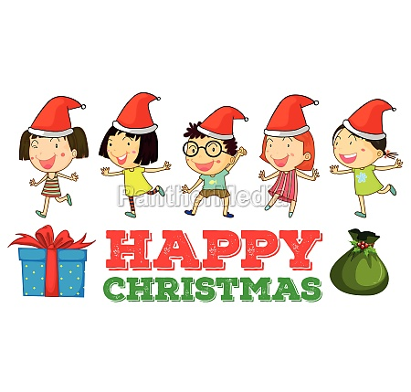 christmas theme with children in party