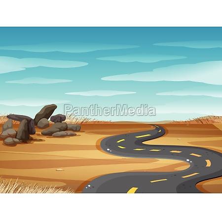 scene with empty road in desert