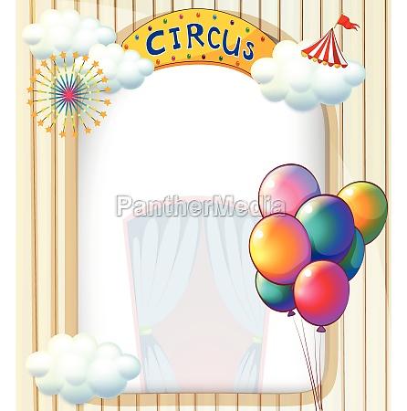 a circus entrance with balloons