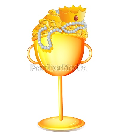 a golden cup with gold treasures
