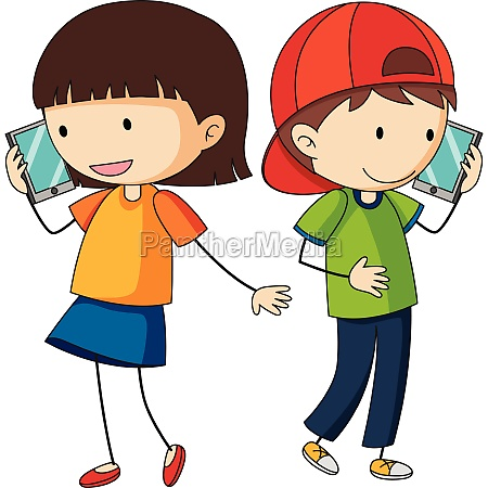boy and girl talking on cellphone