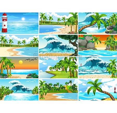set of tropical ocean nature scenes