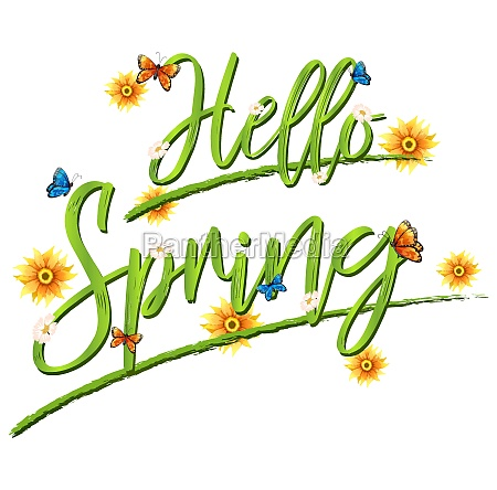 hello spring font background
