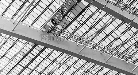roof and plastic skylights of building