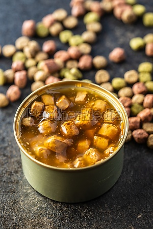 canned pet food and dried kibble