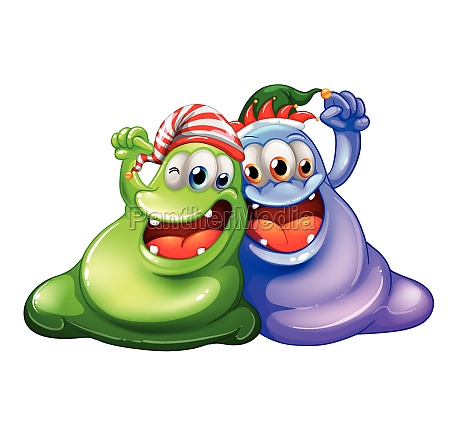 christmas theme with two monsters having