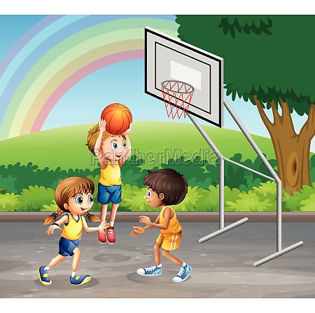 three children playing basketball at the