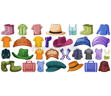 set of fashion outfits and accessories