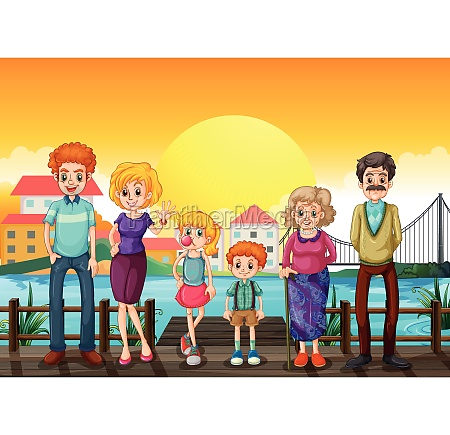 a family at the wooden bridge