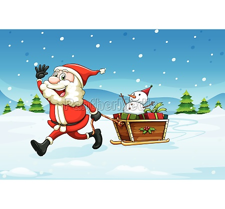 a cheerful santa with a wooden