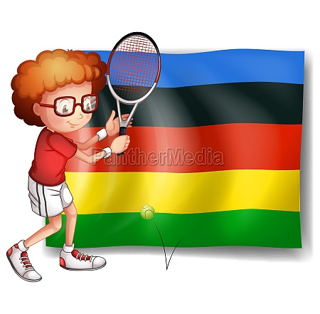 olympics flag and tennis player