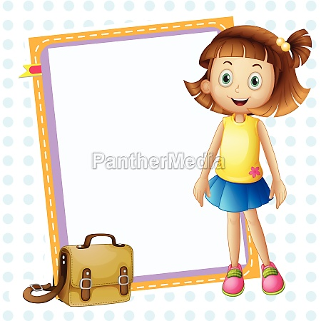 a girl and board with bag