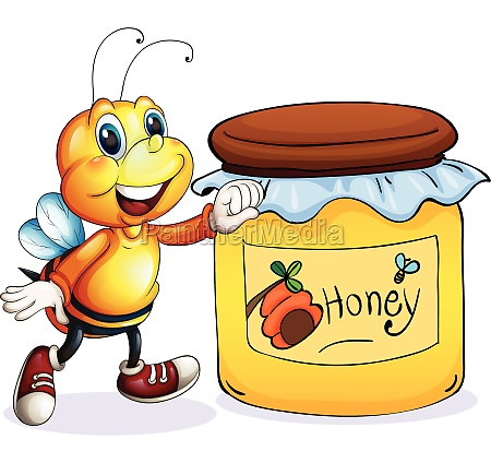 a bee beside the jar of