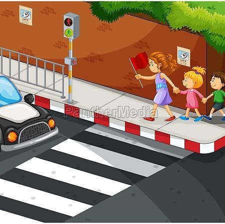 children walking on the pavement