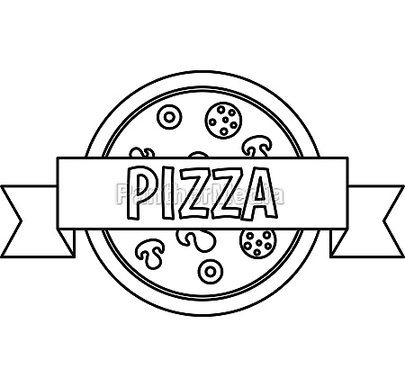pizza restaurant label with ribbon icon