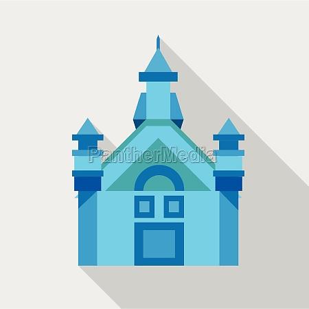 blue castle icon flat style