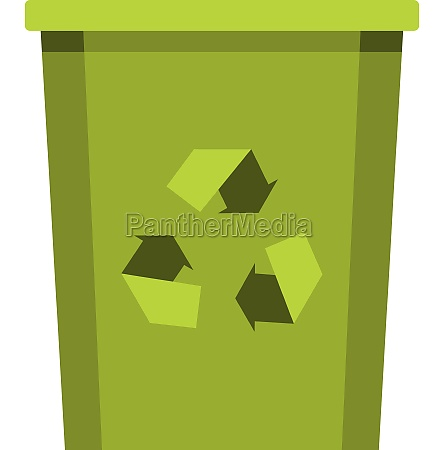 green bin with recycle symbol icon
