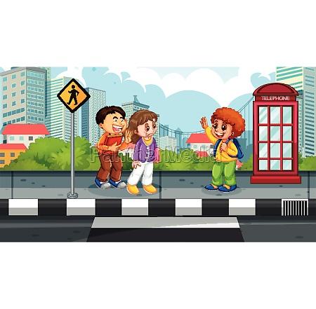 kids in street scene