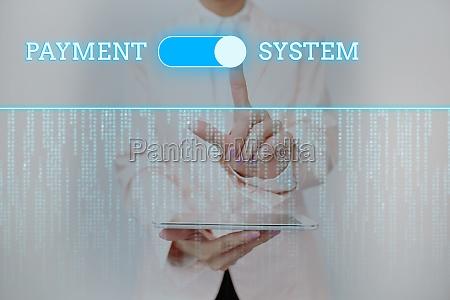 conceptual caption payment system business showcase