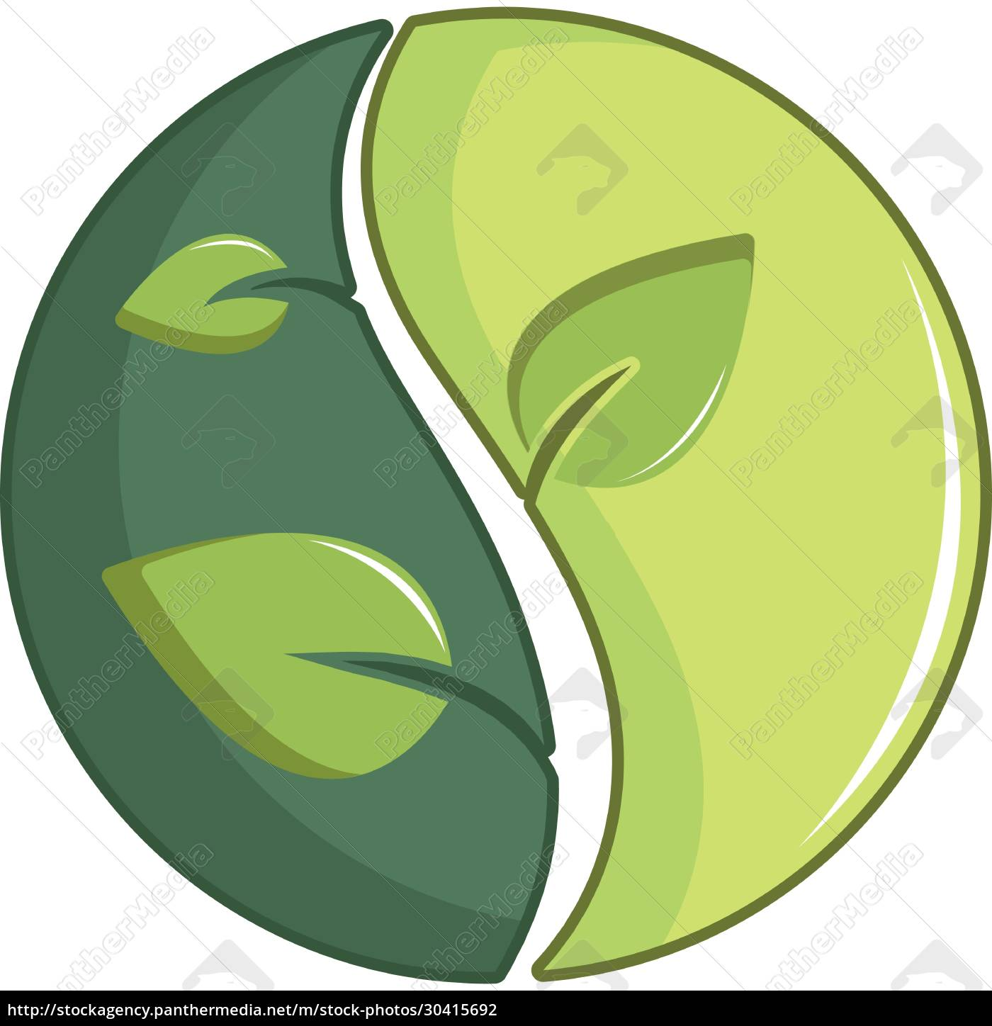 green, round, sign, with, leaves, icon, - 30415692