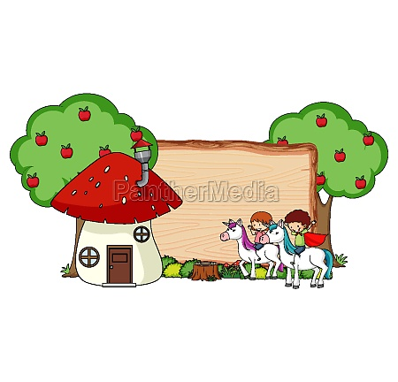blank wooden banner with fantasy cartoon