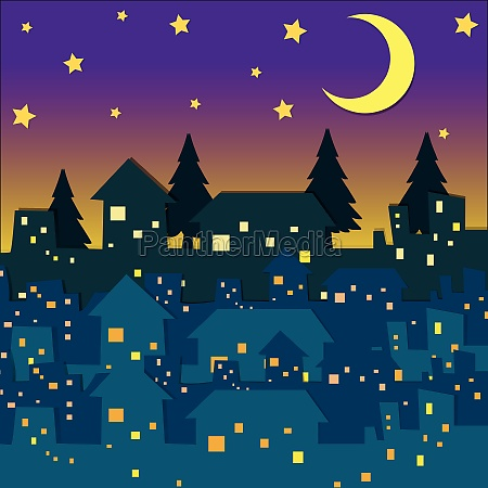 night scene with many houses